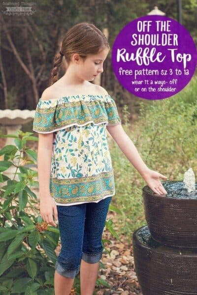 Off The Shoulder Ruffle Top Pattern (sz 3 to 12)
