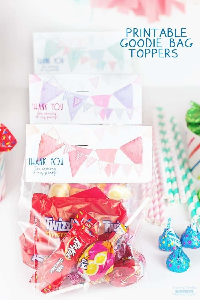 Free Printable for your Birthday Party: Thank you Printable Goodie bag toppers.