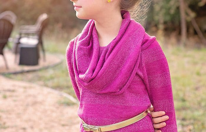 How to Sew a Girl's Cowl Neck Top Pattern and tutorial