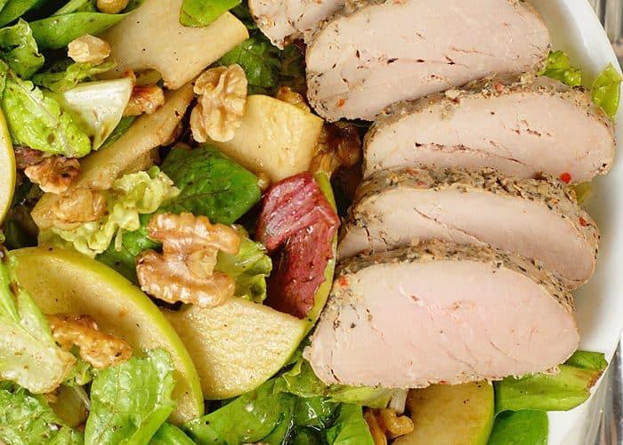 Apple, Pear and Toasted Walnut Salad w/ Pork Tenderloin