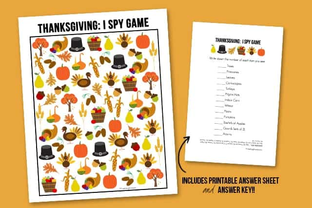 The perfect way to entertain the kids this Thanksgiving! This sweet Thanksgiving I Spy Printable comes with an answer sheet and answer key too!