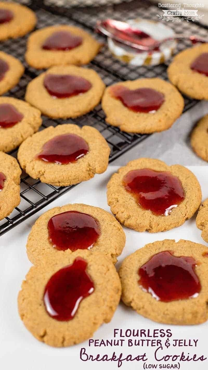 Flourless Peanut Butter and Jelly Cookies (low sugar)