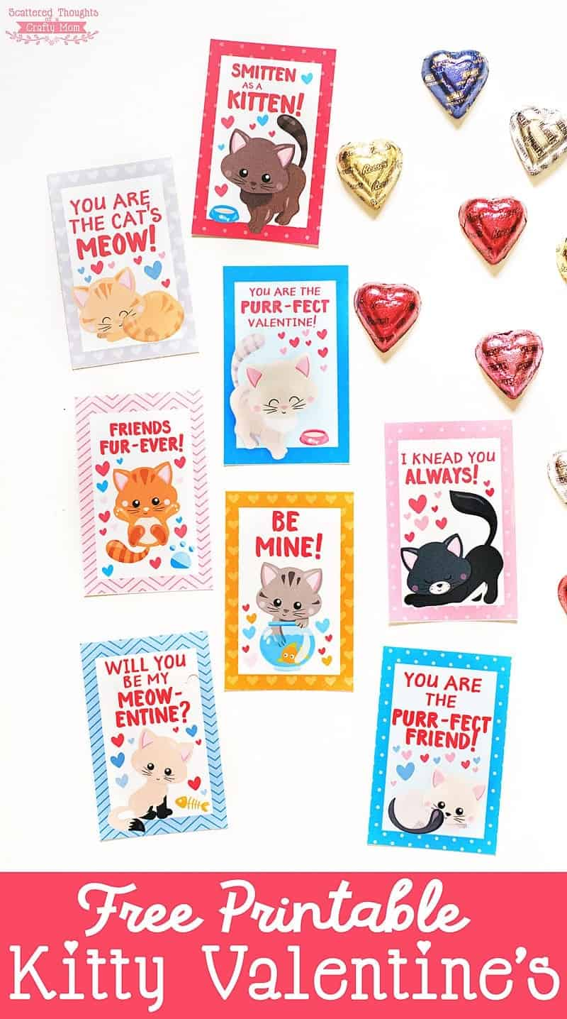 photo about Valentine Printable called No cost Printable Kitten Valentines - Scattered Issues of a
