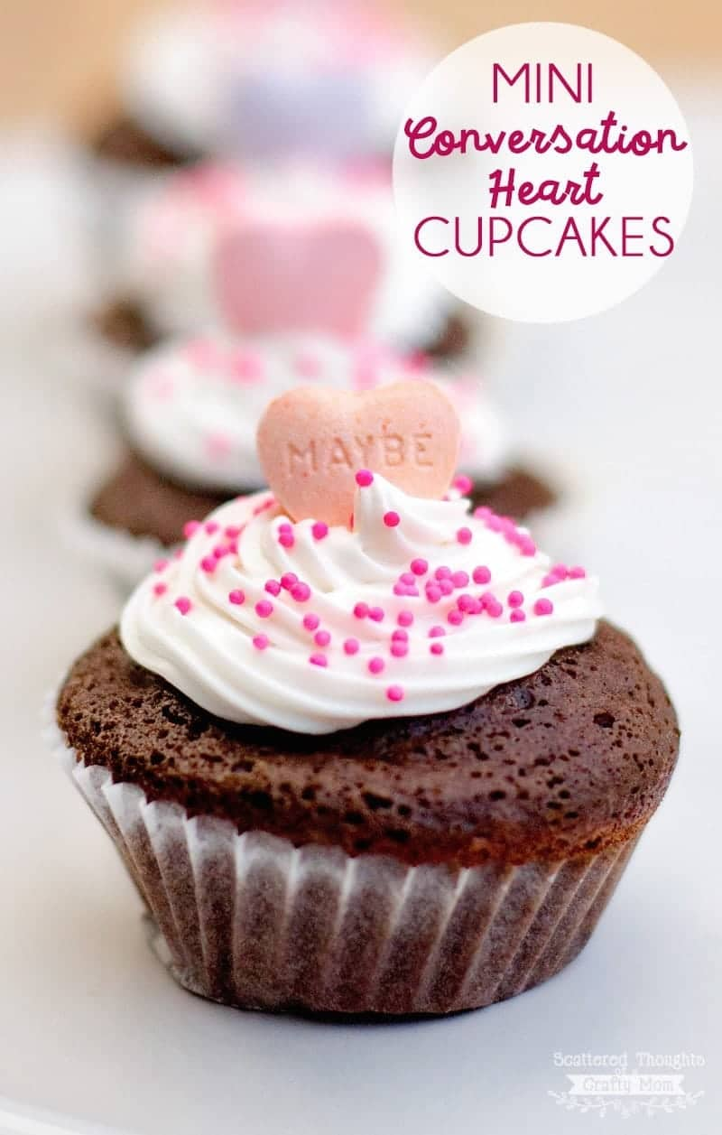 Mini Conversation Heart Cupcakes - the perfect little bite of chocolate for your next Valentine's Day Party or playdate! (mini chocolate cupcake recipe)