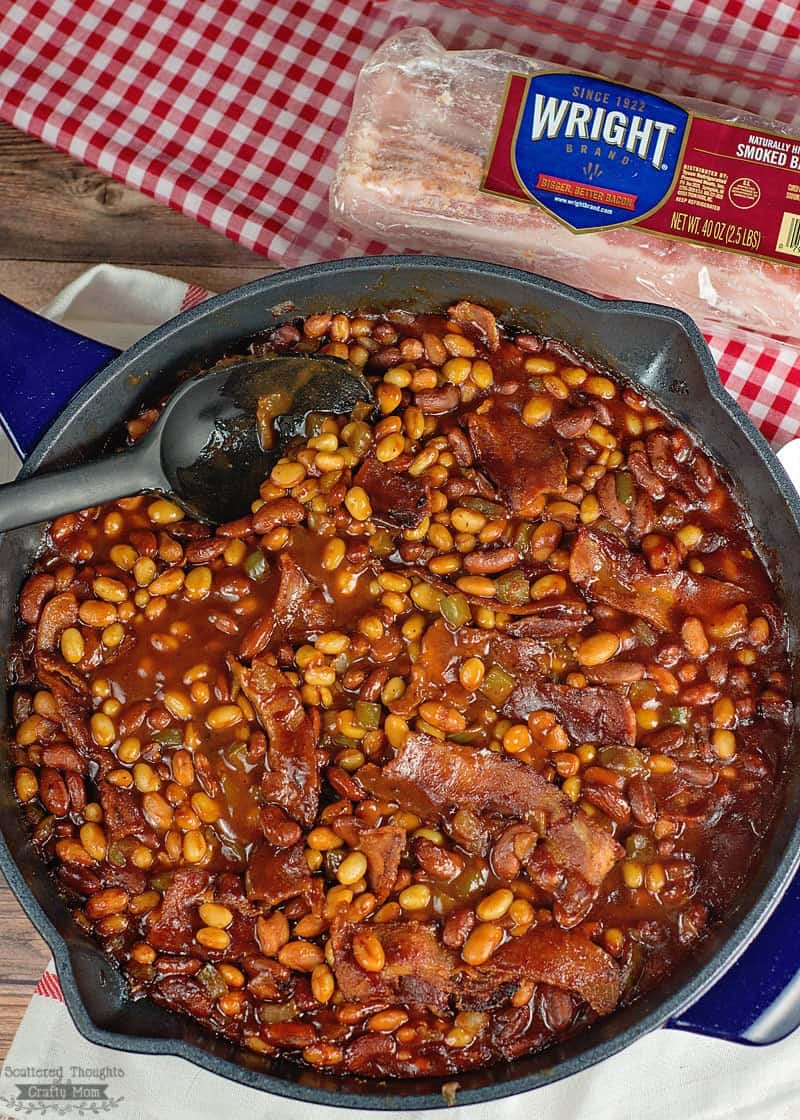 Campfire beans recipe: Skillet Barbecue Baked Beans with Bacon Recipe - Bonus: you can make them on them in the oven or over the campfire.