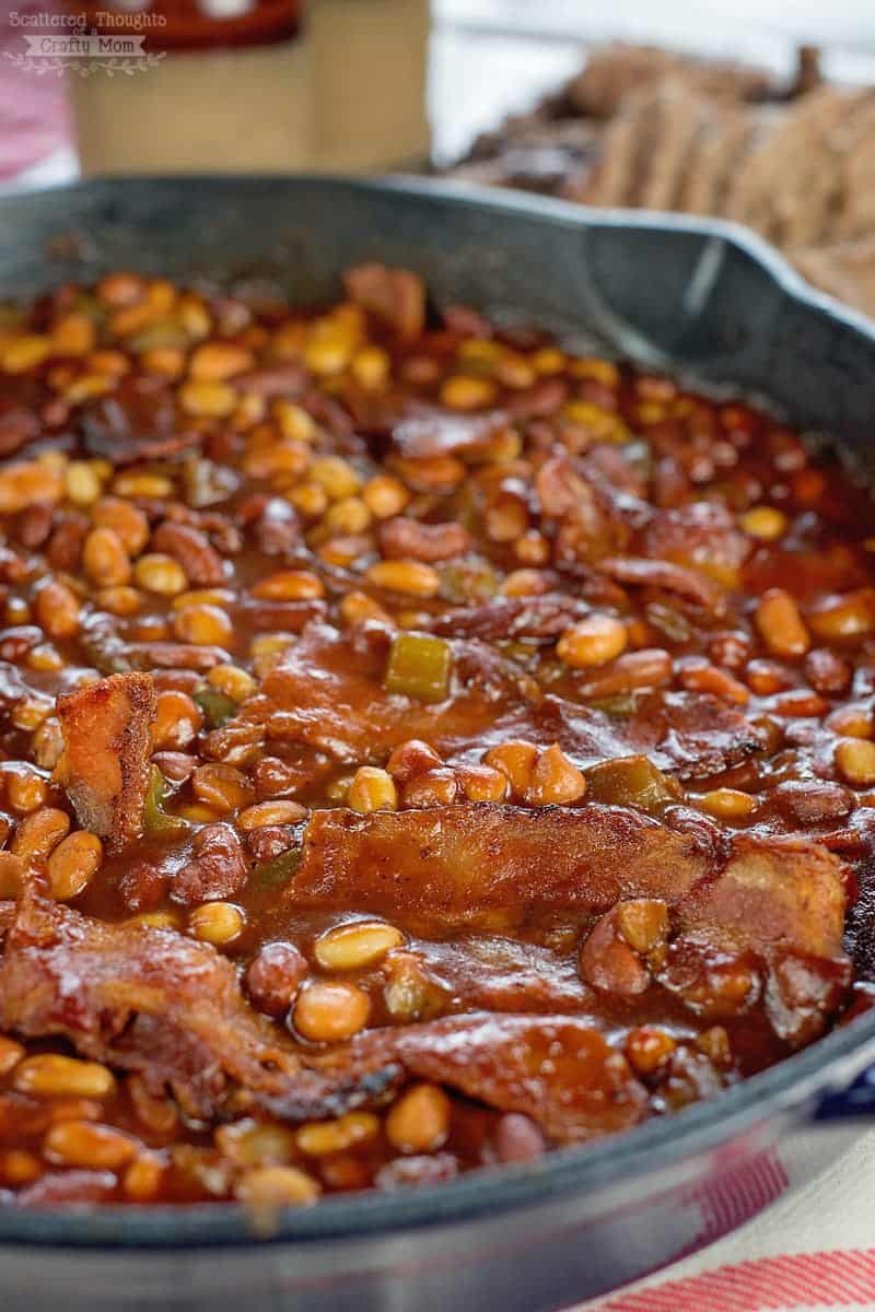 The best Skillet Barbecue and Bacon Baked Beans recipe EVER! - Bonus: you can make them on them in the oven or over the campfire.