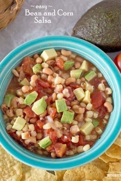 Easy Avocado Bean and Corn Salsa
