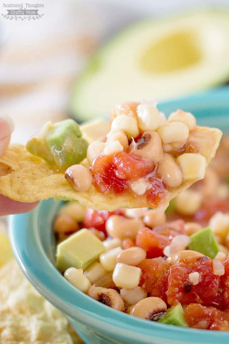 Black-eyed peas, white beans, corn, salsa, avocado, and Italiandressing