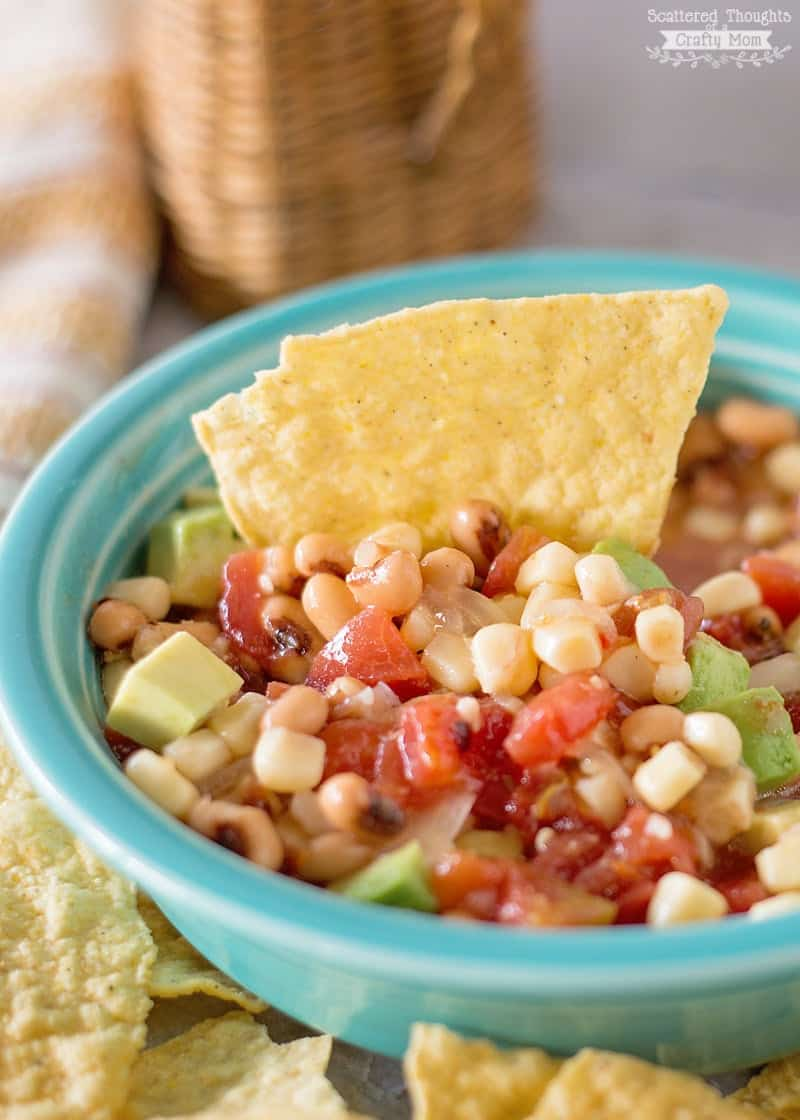 Easy Bean and Corn Salsa - Perfect snack for game day or any other get-together!
