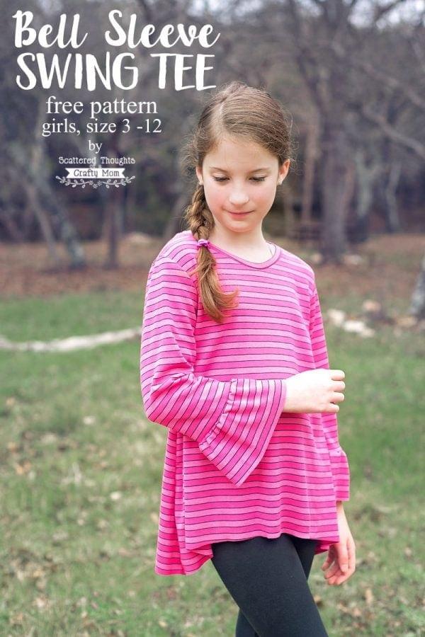 Free Sewing Pattern: Girl's Bell Sleeve Swing Tee