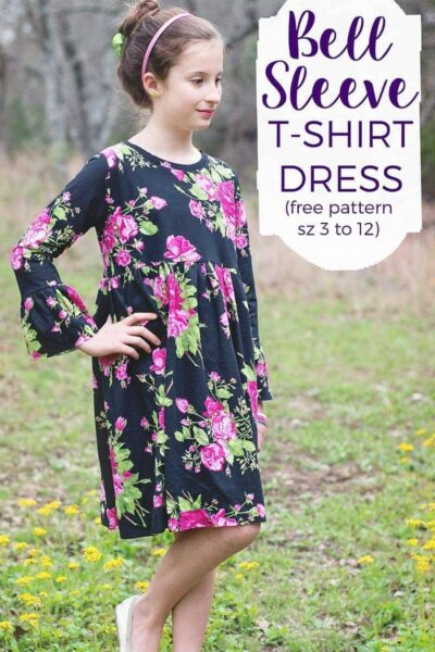 Free Bell Sleeve T-Shirt Dress Pattern, size 3 to 12