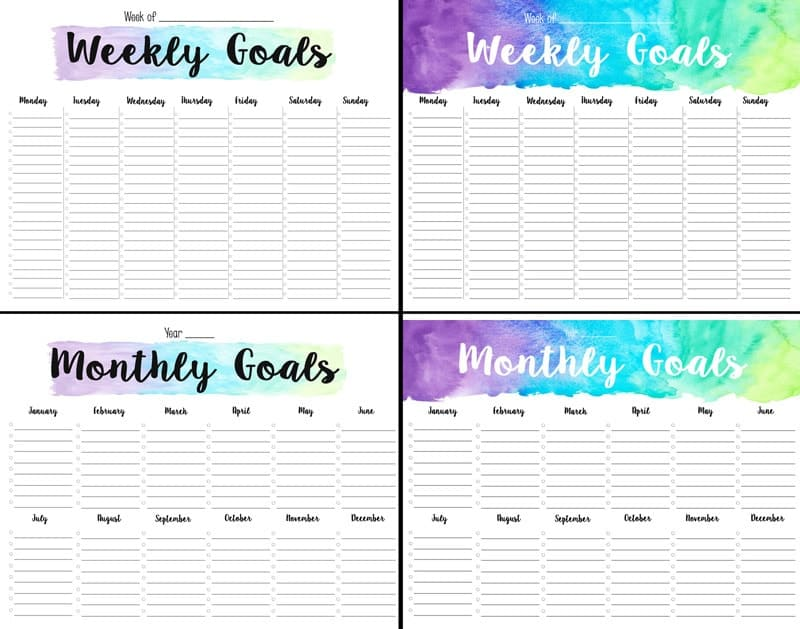 Free printable weekly/monthly goal planner.