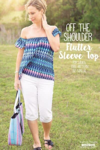 Off the Shoulder Flutter Sleeve Sewing Pattern (for ladies, sz s- xl)