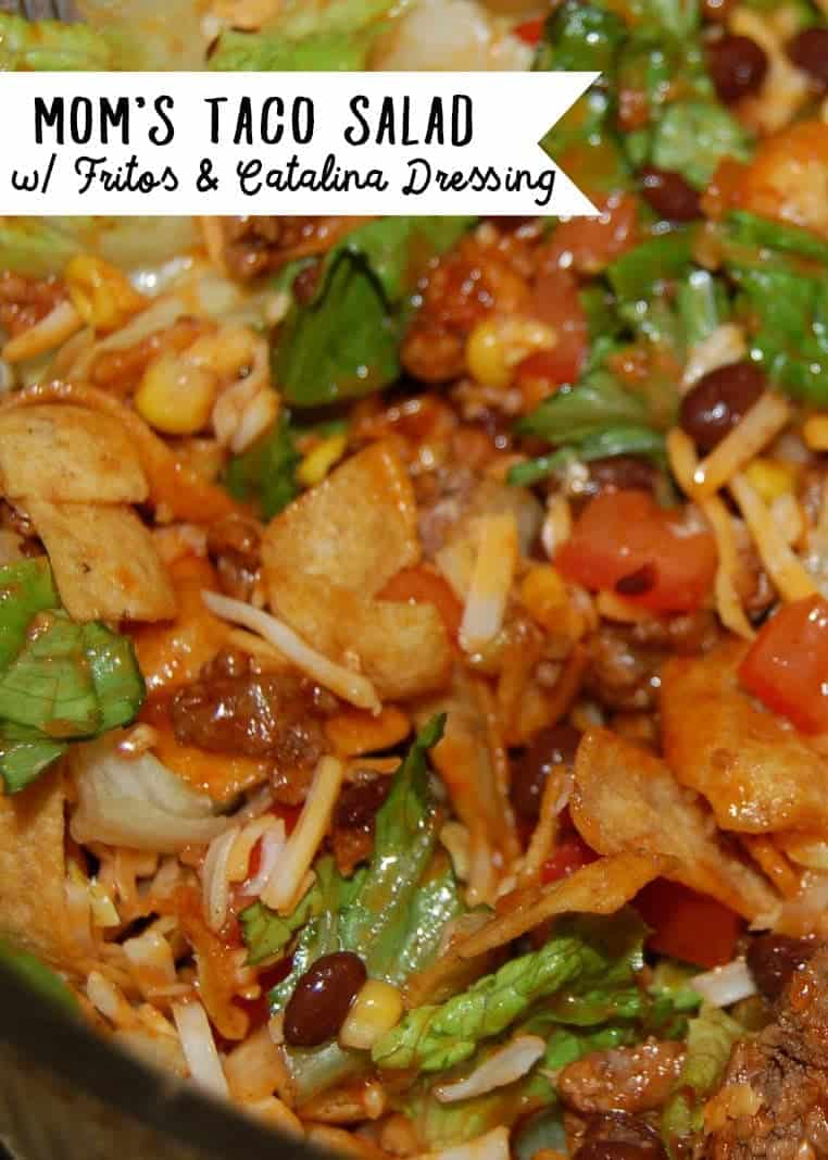 Taco Salad with Catalina Dressing (Don't forget the Fritos - The Fritos make this Catalina dressing taco salad so good!)
