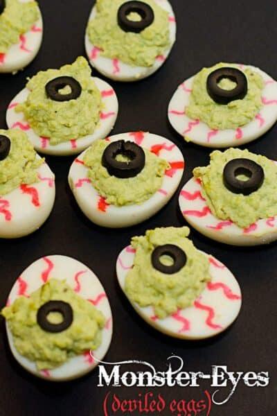 Spooky Monster Eyes Deviled Eggs for Halloween