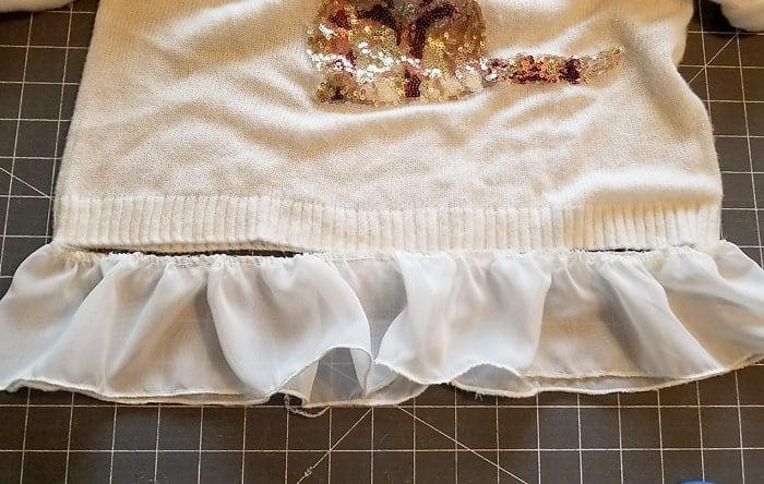 adding a chiffon ruffle to the bottom of a sweater