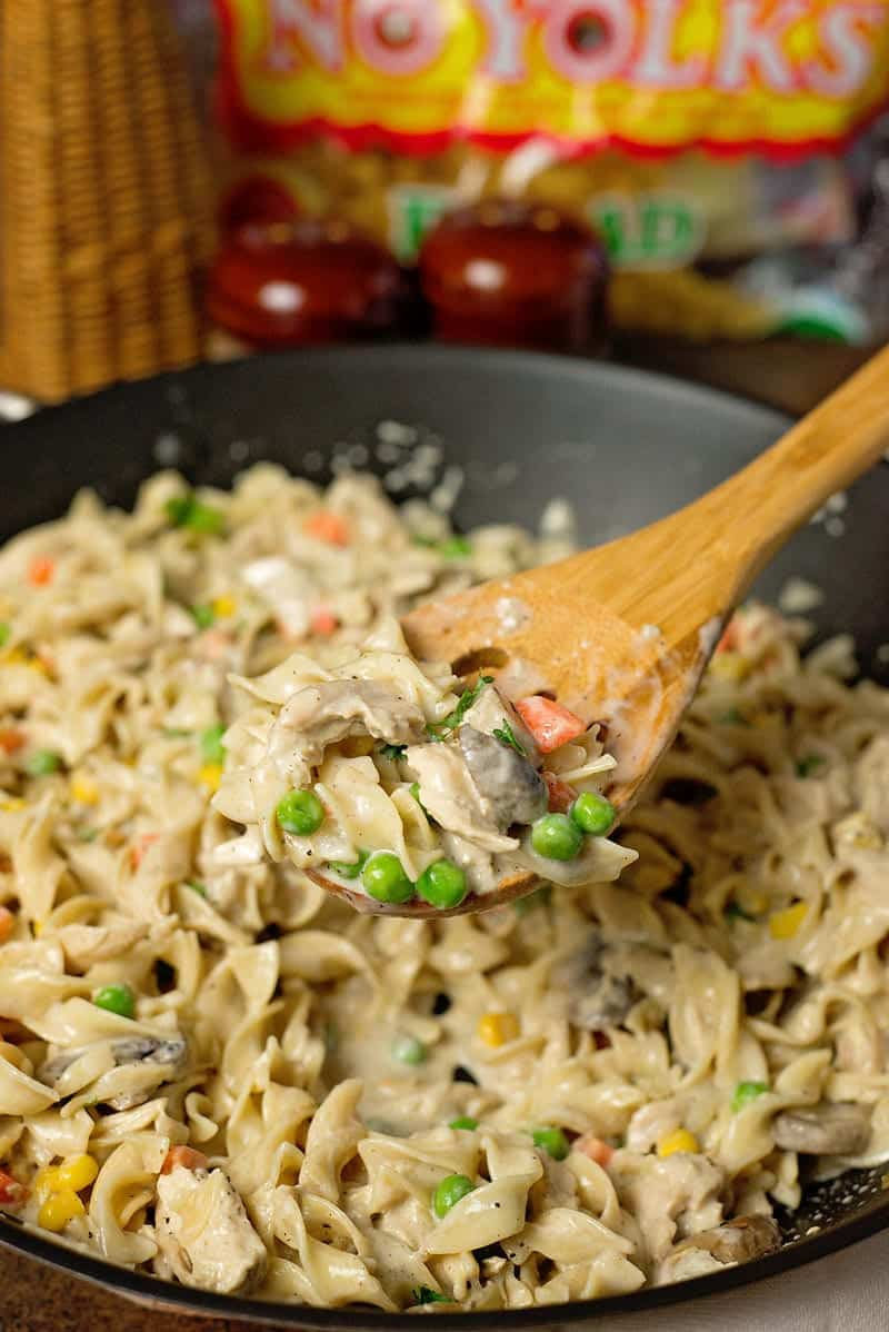 Creamy Chicken Noodle Skillet Recipe - Tastes like Chicken Pot Pie, without all the work!