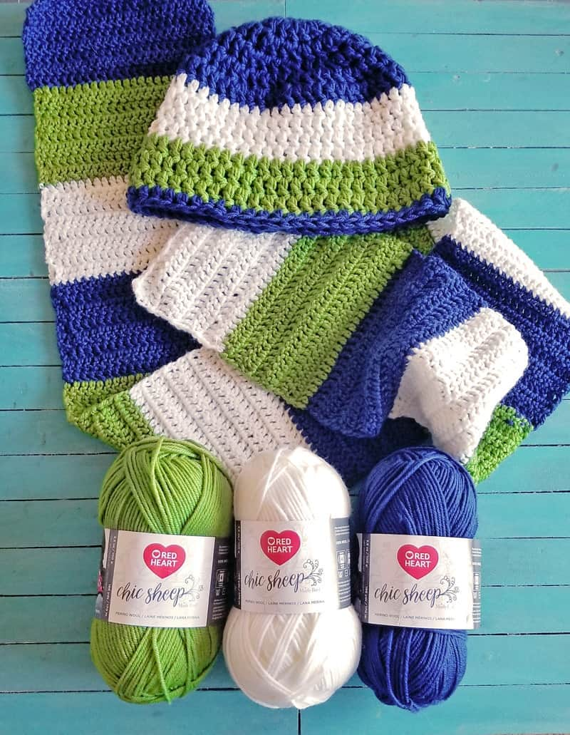 how to crochet a color blocked scarf, childrens crochet hat and scarf patterns