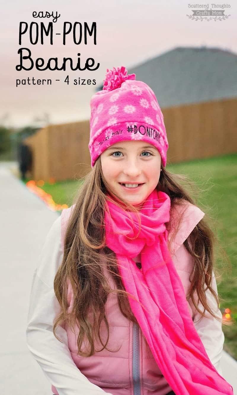 free Pom Pom Fleece Beanie pattern