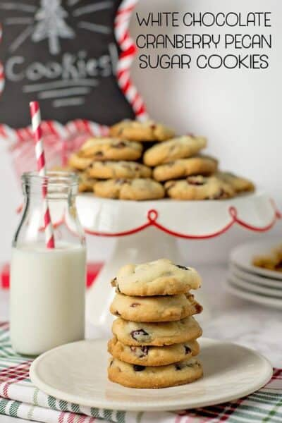 White Chocolate Cranberry Pecan Sugar Cookies w/ printable recipe card