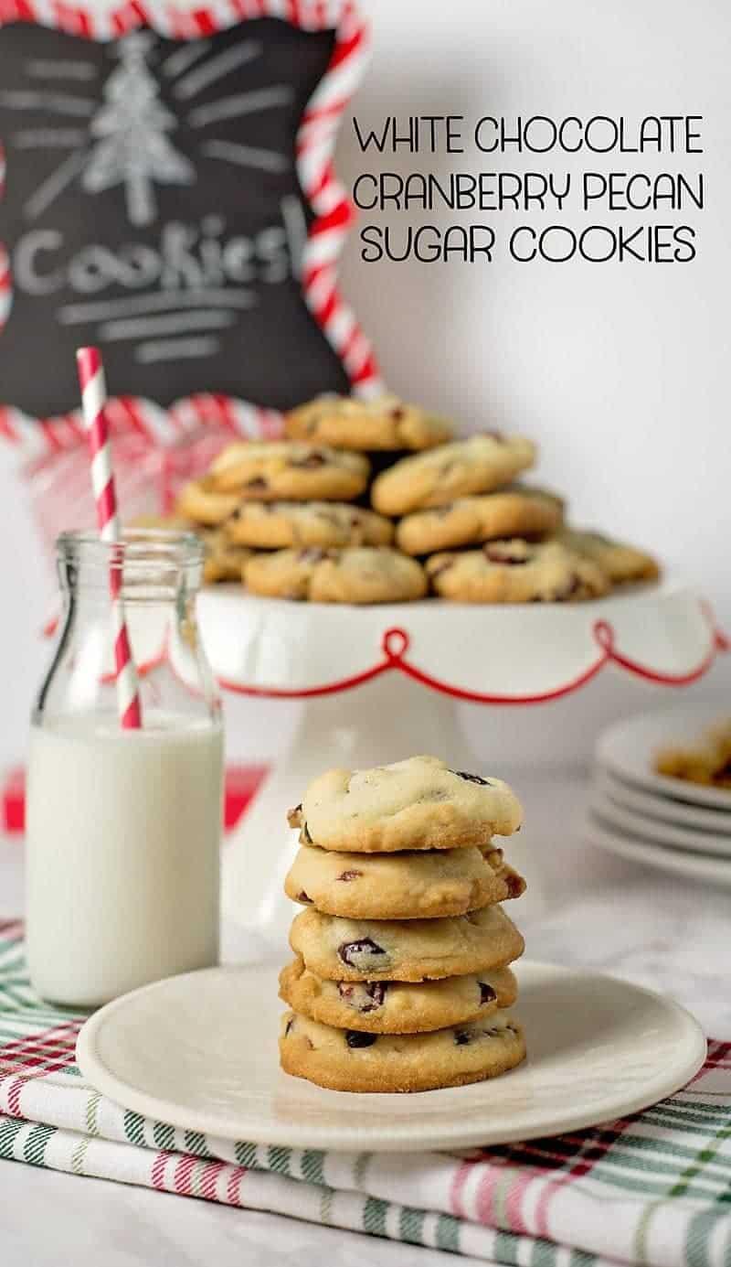 White Chocolate Cranberry Pecan Cookies w/ free printable recipe card