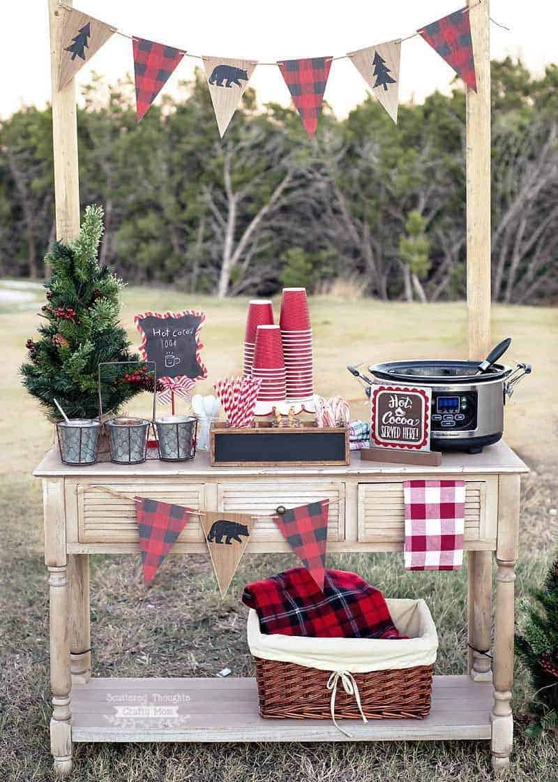 How to set up an Outdoor Hot Cocoa Bar