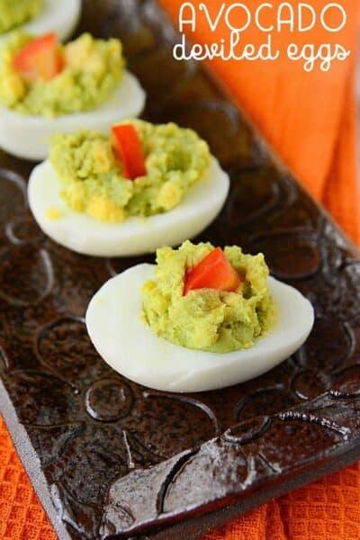 Avocado Deviled Eggs (easy low carb snack ideas)