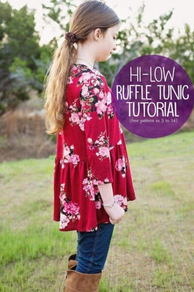 High Low Ruffle Tunic Top sz 3 to 14 (Basic Tee Pattern hack)