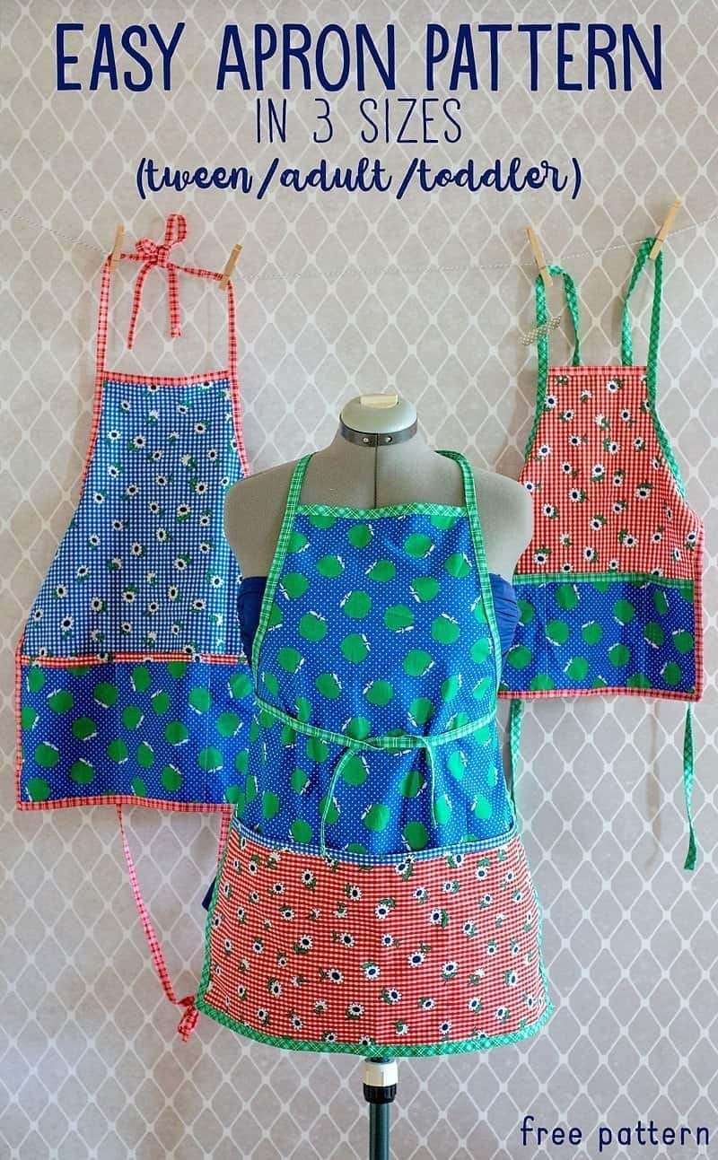 This free apron pattern is available to download in 3 sizes (toddler, tween, and adult). It's perfect baking with the kids. Be sure to download your copy today and get sewing!