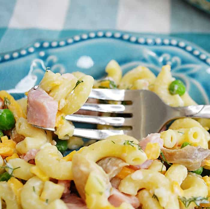 Macaroni Salad with ham and cheese