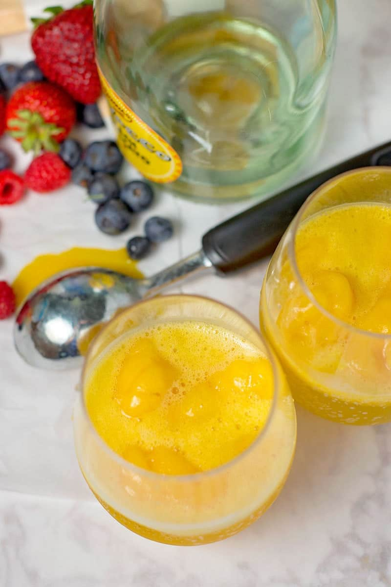 mango and peach moscato cocktail