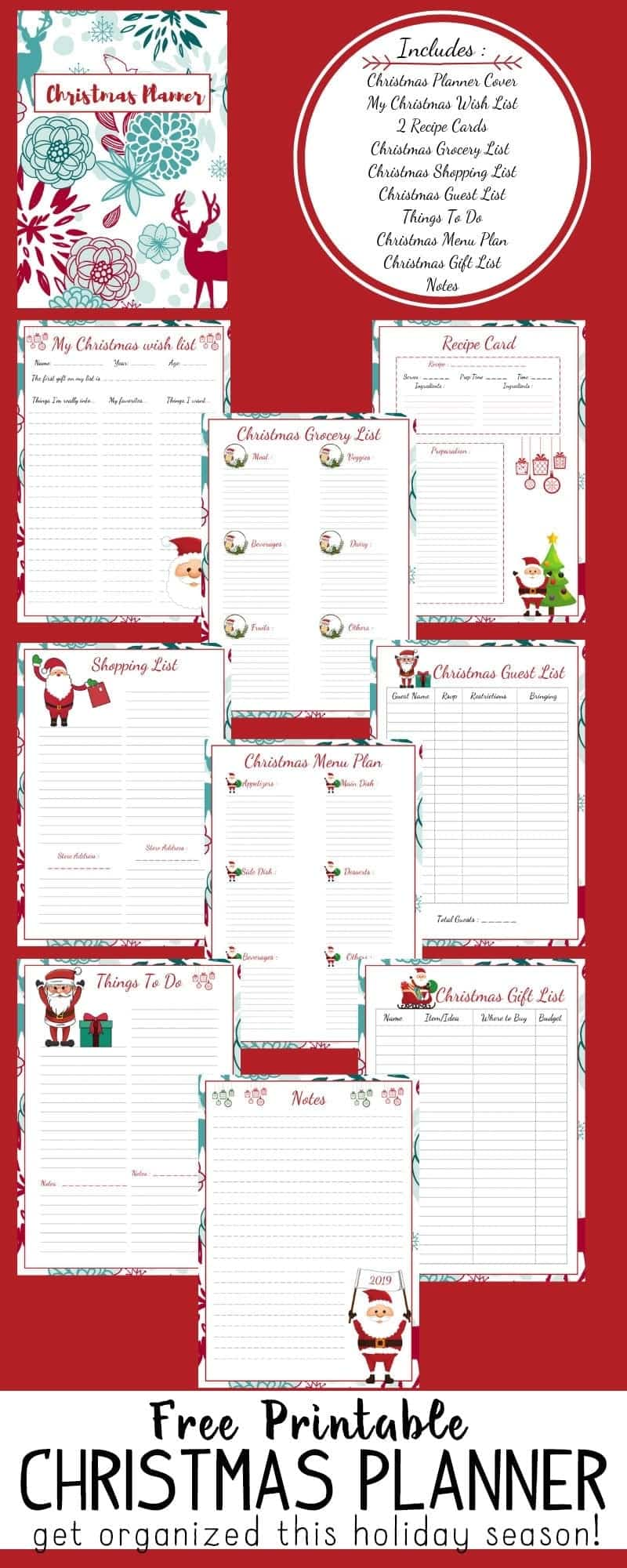 Download this FREE Christmas Planner and get organized for the holidays!