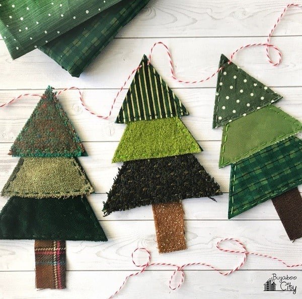 Christmas Tree Banner - free christmas ornament patterns, plus 37 more cute things to sew for Christmas