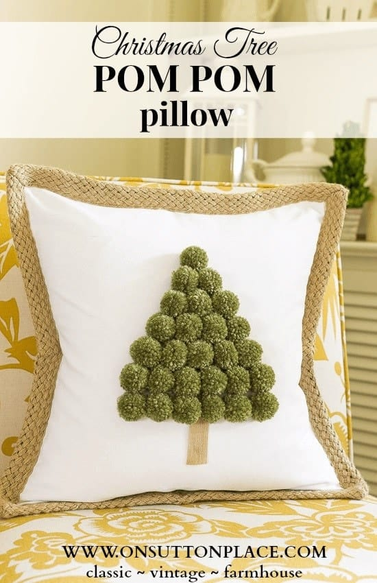 Christmas crafts to make and sell - Pom Pom Christmas Tree Pillow