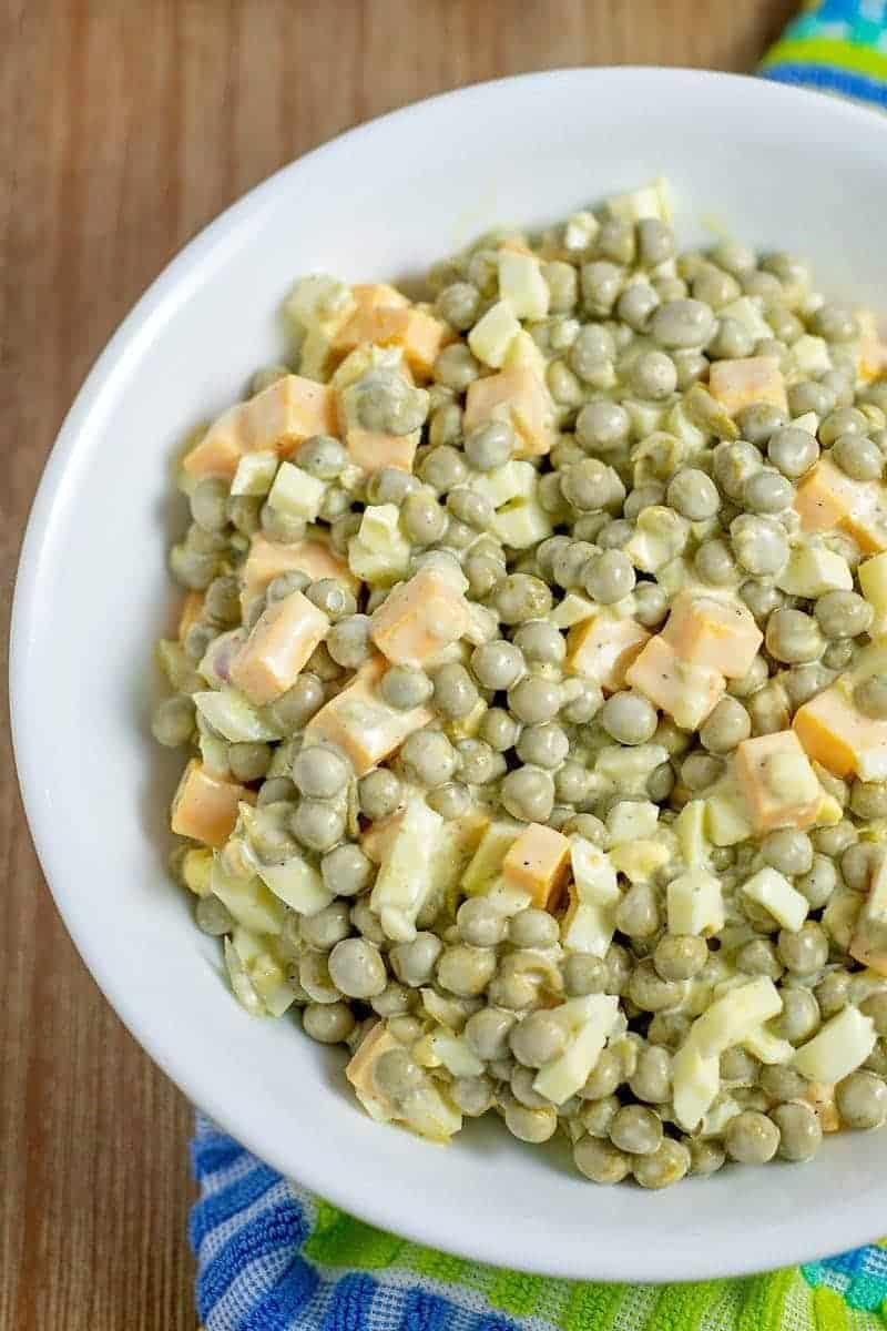 Pea Salad recipe, made with peas ham, cheese, onion and Mayo
