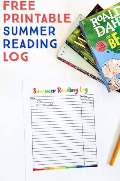 Free Summer Reading Log for Kids (printable)
