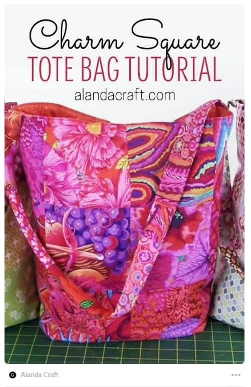 Tote bag made with charm squares